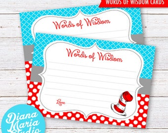Printable Words Of Wisdom Dr Seuss Baby Shower Printable Game Dr Seuss Baby  Shower Activity