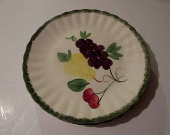 """Blue Ridge southern potteries 3 lunch plates with fruit, 9""""."""