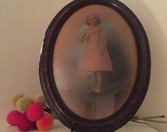 """HAUNTING ANTIQUE PHOTOGRAPH Bubble Glass Frame, Antique Frame, Bubble Glass, Photograph of Little Girl, 22"""" X 16"""" X 1.5"""" at Ageless Alchemy"""