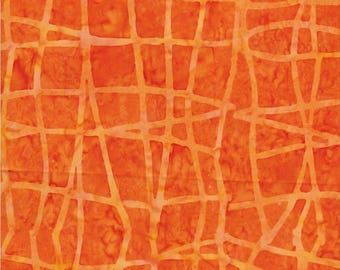 Benartex Fabric, Colorama Balis, Wavy Plaid Tangerine, Batik Print, 100% Cotton