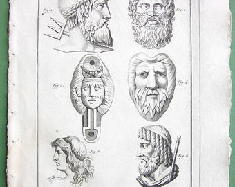 ROMAN GODS Deities Neptune Triton Leander Pluto (ruler of the Underworld). - 1804 Antique Copperplate Engraving Print