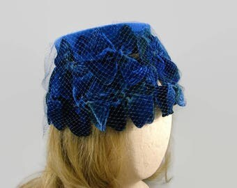Dark Blue Velvet Bucket Hat with Netting, Royal Blue Velvet Bow Stretch Hat