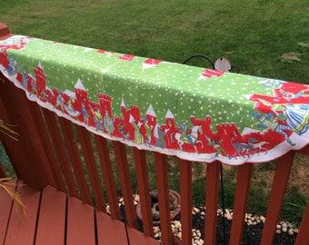 Vintage Christmas linen oval  table runner