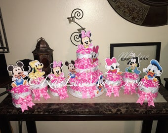 Baby Minnie Mouse Diapercake/Minnie Mouse Baby Shower/Disney Babies Baby  Shower/Baby