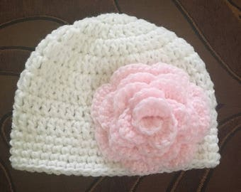 Crochet white baby girl hat with pink flower
