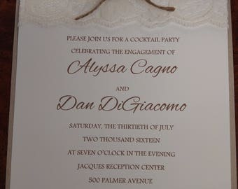 RUSTIC INVITATIONS with Lace & Twine