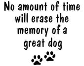 In Memory of a Great Dog Vinyl Decal Dog Sticker Paw Prints for Glass Block