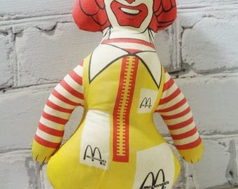 ON SALE Ronald McDonald Stuffed Toy. Circa 1980's. Vintage Toys and Collectibles. The Golden Arches. Pop Culture. 1980's. Clowns.