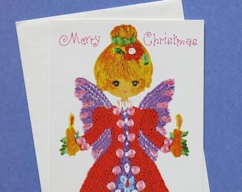 Vintage CHRISTMAS Greeting Card - Colorful ANGEL - Unused - 1960s 1970s