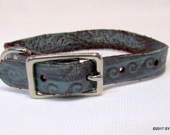 Latigo Leather Dog Collar Aqua Waves Small 17707