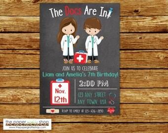 Doctor Invitation | Doctor Birthday Invitation | Kids Doctor Invitation | Kids Doctor Birthday Party | Doctor Party | Twins Doctor Party