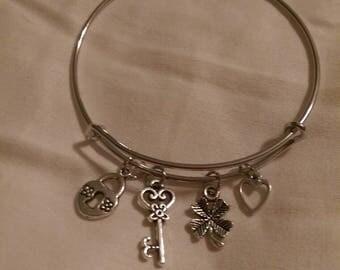 Handmade adjustable Love & Luck charm bracelet