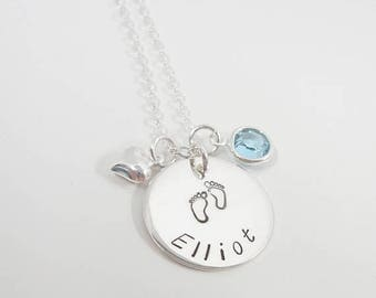 SALE - New Mommy Necklace - Personalized Hand Stamped - Name Necklace - Baby Footprint with Birthstone