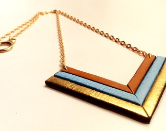Necklace leather camel sky and gold