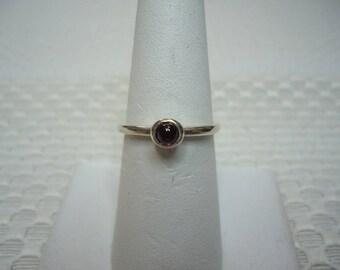 Round Cabochon Rhodolite Garnet Ring in Sterling Silver  #2002