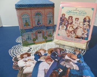 Hallmark Doll House Tin with 8 Paper Heirloom Doll Note Cards