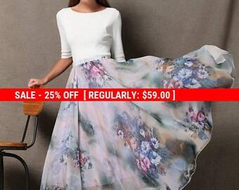 Summer Chiffon Skirt – Soft Purple Flowers Maxi Long Floaty Sheer Floral Summer Skirt Handmade Woman's Skirt (C567)