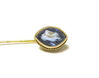 Vintage Blue Spinel Pin - 18k and 10K Yellow Gold Pin with Blue Synthetic Spinel # 1260
