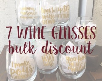 7 Wine Pun Stemless Wine Glasses - BULK DISCOUNT: Funny Wine Glasses, Wine Puns, Wine Gifts, Stemless Wine Glass