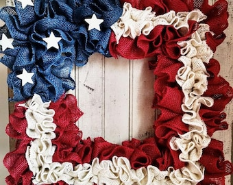 Square Burlap American Flag wreath