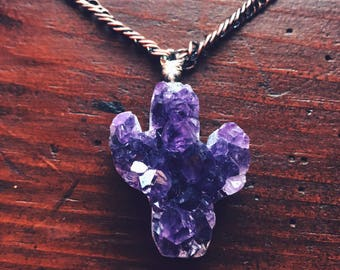 Large Unique Amethyst Cactus Necklace - Intuition, Protection and Clarity - Reiki Infused