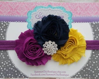 Baby Headband, Plum, Navy, and Mustard Yellow Headband, mustard yellow Headband, Newborn Headband, Plum Baby Headband, Headband, Fuchsia