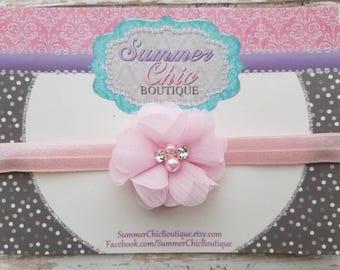 Pink Baby Headband, Infant Headband, Newborn Headband - Light Pink Headband Chiffon and Pearls Flower Headband, Easter Headband
