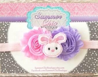 Easter Bunny Baby Headband, Infant Headband, Newborn Headband, Pink Easter Bunny Headband, Light pink and Lavender Easter Headband