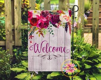 Welcome Garden Flag - Floral Burgundy Roses - Monogrammed - Home Decor - Wedding Gift - House Warming - Yard Flag - Weathered Wood