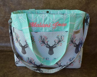 Boho Diaper Bag-Woodland Diaper Bag-Baby Girl Diaper Bag-Deer Diaper Bag-Arrow Diaper Bag-Deer floral antler Diaper Bag