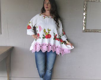 upcycled linen tunic lace clothing Romantic Boho Lagenlook top loose fit Wearable Art X L 1 X shabby chic Bohemian shirt LillieNoraDryGoods