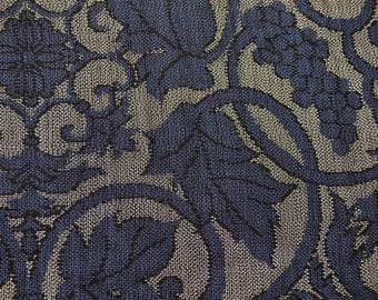 Handwoven Indigo Grapevine Geometric Vintage Japanese tsumugi silk kimono fabric