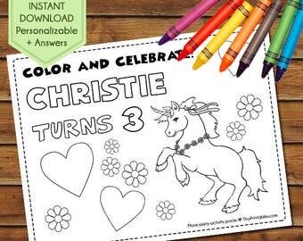 Unicorn Party Favors, Unicorn Coloring Pages, Unicorn Party Games, Unicorn Colouring Sheet, Birthday Activity, Unicorn Party Activity Book