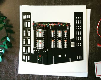 Ghostbusters, Fire House, Ghostbusters HQ, New York City, Christmas Card, Seasons greetings, Seasonal Card, Greetings Card, Ghostbusters Art