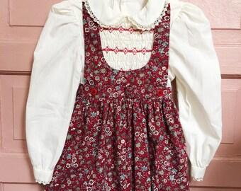 80s polly flinders hand smocked apron dress/ floral dress with smocking , girls dress size 4/5T