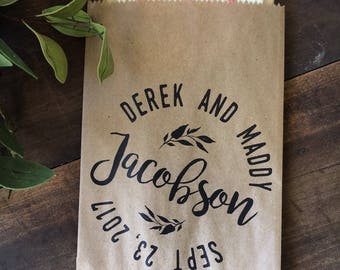 Wedding Favor cookie buffet Bag - Wedding Candy Buffet Bag - Wedding Favors Vintage Print Custom Print - Natural Recycled Paper Bags - set o