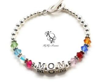Customized Mom Bracelets, Family Birthstone Bracelets, Personalized Grandma Bracelets, Mothers Bracelets with Name, Mothers Jewelry
