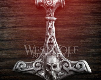 Large Viking Skull Hammer Pendant --- Medieval/Norse/Warrior/Thor/Mjolnir/Death/Metal