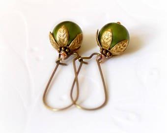 Green Apple Earrings, antique bronze dangle earrings. Vintage long earrings. Gift for her, simple everyday jewelry