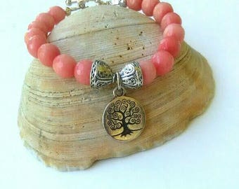 Pink Morganite Gemstone Bracelet Beryl, Faceted beads, Tibetan bead caps, Tree of Life Charm, healing, 8mm, 6 1/2 to 7  a beauty