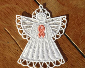 Embroidered Ornament - Christmas - Uterine Cancer Angel - Peach Ribbon