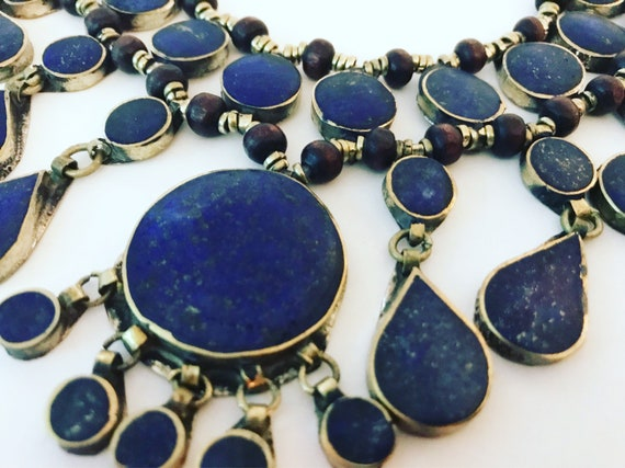 Vintage Lapis Lazuli Necklace, Bib Necklace for Women, Royal Blue Gemstone Jewelry for Her, Blue Stone Waterfall Necklace, Boho Chic Gift