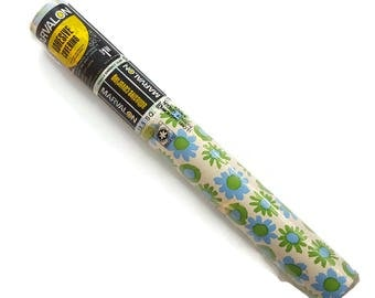 Vintage Contact Paper 70s Daisy Floral Blue Green Marvalon Adhesive Shelf Liner Roll Vinyl Wallpaper