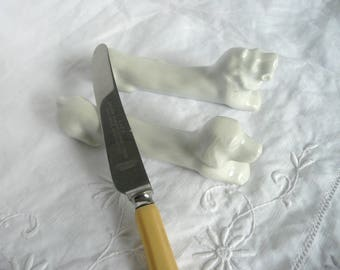 Vintage French knife rests - white porcelain knife rests - Pillyvuyt porcelain knife rests - dog and lion knife rests