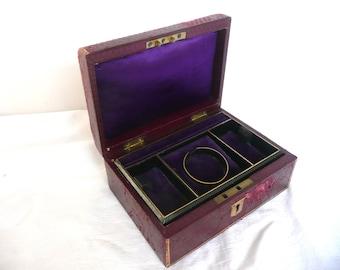 Leather jewellery box - antique jewelry box - Edwardian leather jewellery box - red leather jewelry box with purple interior