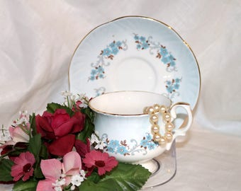 1950s Crown Staffordshire Fine Bone China Teacup & Saucer - Made in England - Light Blue - English Tea Cup