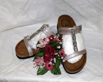 Noat Rhinestone Accented Sandals - Silver Brown - Leather - Original Box - New Never Worn - Made in Israel - Similar to Birkenstock - Size 5