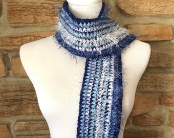 Blue and white scarf, crochet scarf