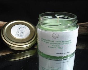 candle in a pistachio @decomatine creme perfume jar