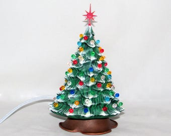 Ready to ship - Small Ceramic Christmas Tree - 7 inches with brown base-hand made Pine tree with light kit